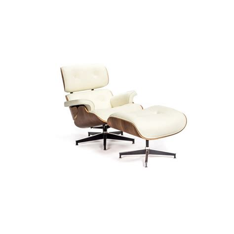 eames lounge chair white leather eames style lounge chair and ottoman white leather walnut