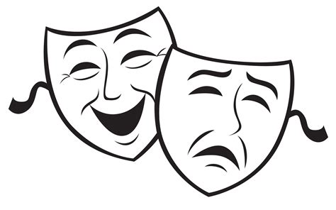 Theater Mask Outline by Comedy And Tragedy Masks Images Cliparts Co