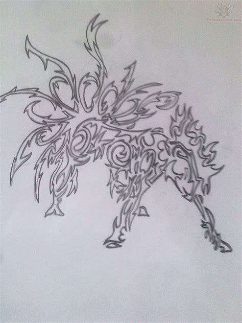 tattoo design paper nine tailed demon fox tattoo