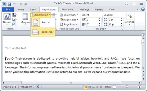 landscape layout on mac word ms word 2010 change the page orientation to landscape