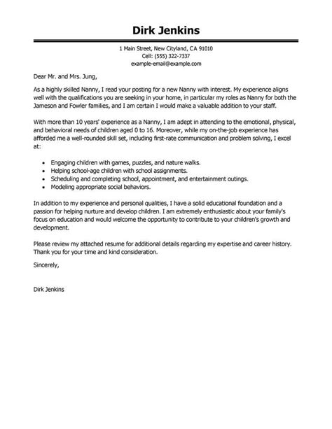 cover letter for a nanny job wa gram publishing