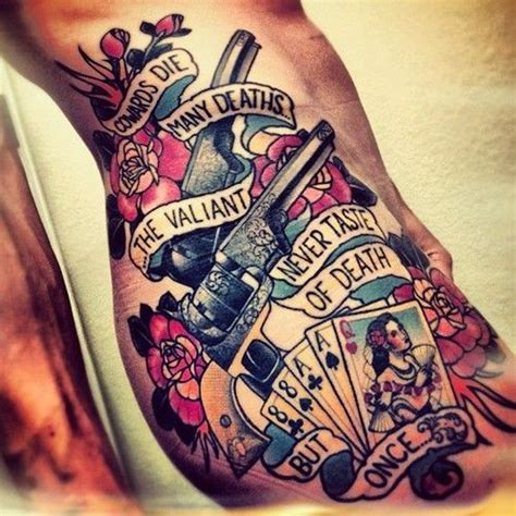 tattoo old school revolver oldschool gewehr und spielkarten tattoo auf rippen