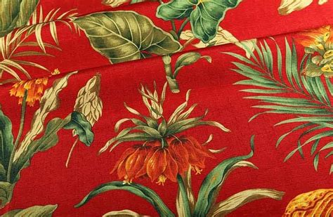Upholstery Fabric Tropical by Botanica Upholstery Fabric In Lipstick Tropical