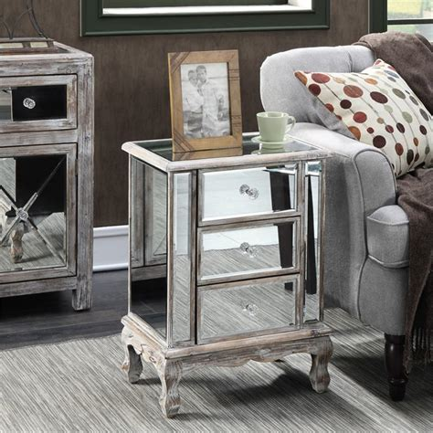 mirrored end table 3 drawer mirrored end table 413359ww