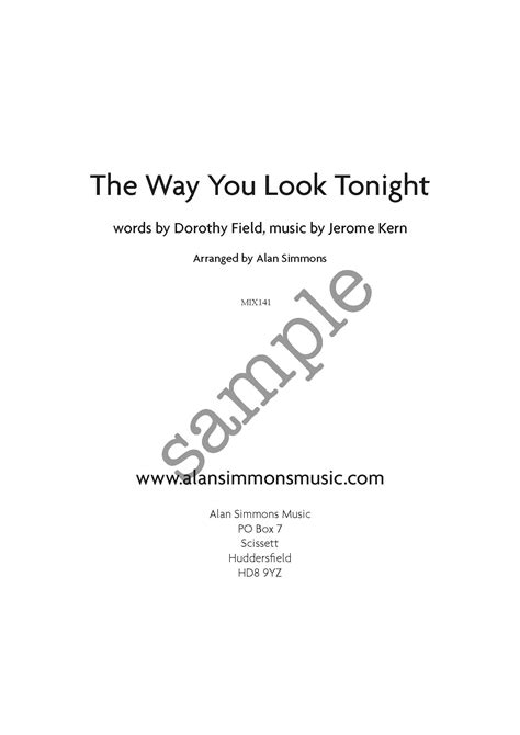the way you look tonight swing time the way you look tonight uk alan simmons music