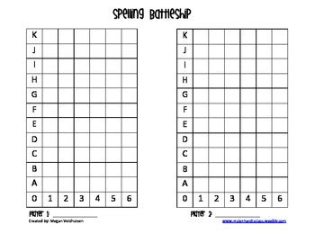 Spelling Battleship Template By Megan Veldhuizen Tpt Battleship Template