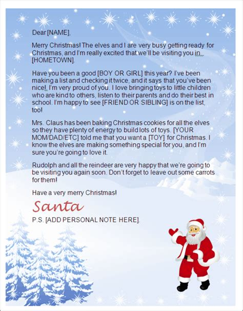printable letter from santa north pole letter from santa template word letters from santa north