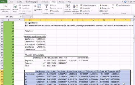 tutorial excel regresion lineal excel 2010 recta de regresi 243 n lineal m 250 ltiple p 1 youtube