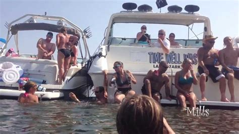 lake of the ozarks boat party slip off of a boat in party cove and spill beer youtube