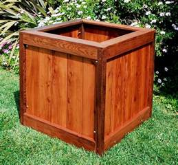small square vertical wood planter box for small