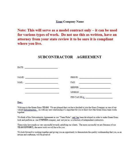 subcontractors agreement template need a subcontractor agreement 39 free templates here