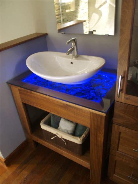 diy wood vanity countertop diy vanity nightlight pebbles are set below a clear