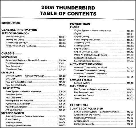 car owners manuals free downloads 2005 ford thunderbird regenerative braking 2005 ford thunderbird repair shop manual original