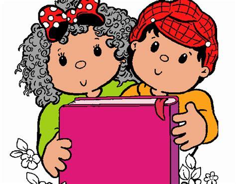 imagenes para relajar niños dibujo de ni 241 os con libros pintado por en dibujos net el