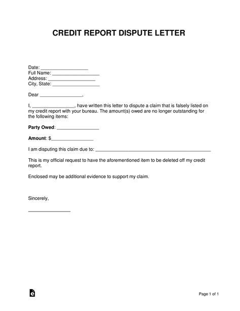 credit report dispute letter template sample word