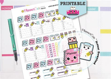 printable kawaii planner stickers planning day kawaii printable planner stickers k003