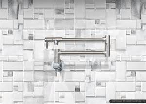 modern espresso cabinet white glass metal backsplash tile