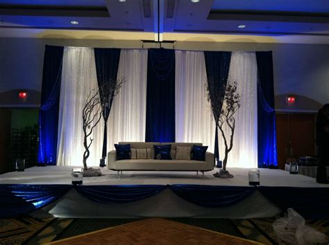 Rustic Wedding Decor Rentals Encore White And Blue Drape Stage Backdrop Encore Creative