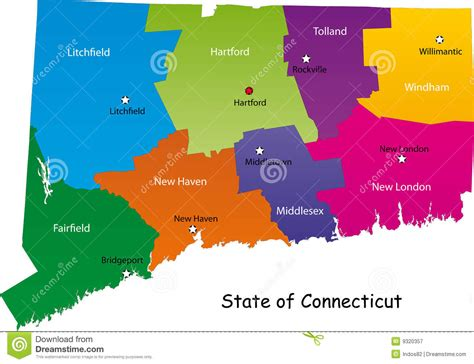 connecticut state map map of connecticut state stock vector illustration of