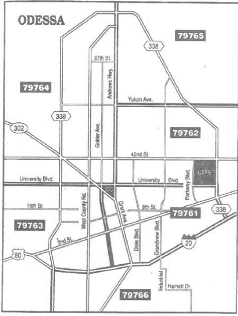 midland texas zip code map odessa map with zip code areas showing