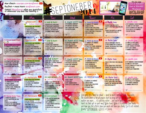 Blogilates Calendar Septoneber Workout Calendar Get The Password By Signing