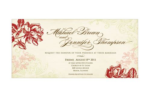 marriage invitation card format in word wedding invitation