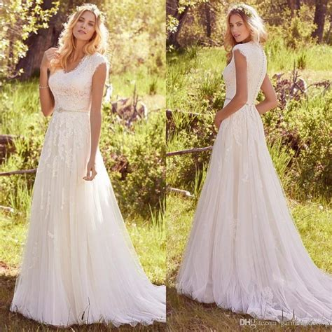 Country Dress discount modest country wedding dresses 2017 small v neck