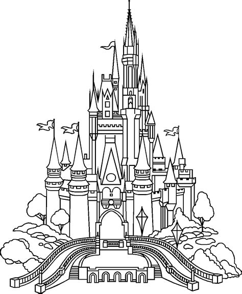 easy cinderella castle coloring coloring pages castle of disney world line drawing tattoo inspiration