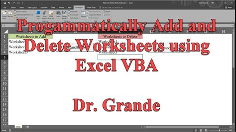 programmatically add and delete worksheets using excel vba