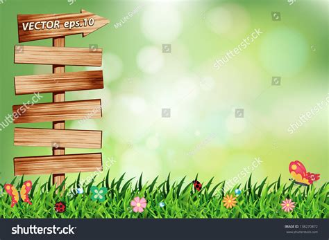 design background signboard natural green background with wood signboard vector