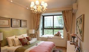 Country style bedroom with bay window curtains decoration effect chart