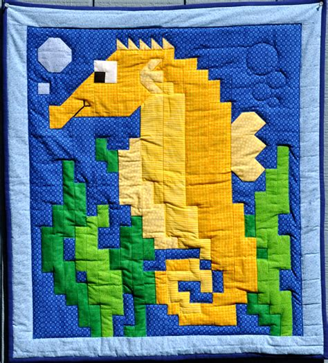 seahorse quilt pattern cq 019 advanced beginner and
