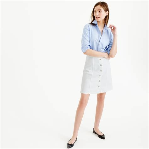 j crew button front white denim mini skirt in white lyst