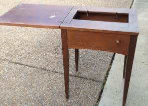 vintage sewing table turned beverage table a nester s nest