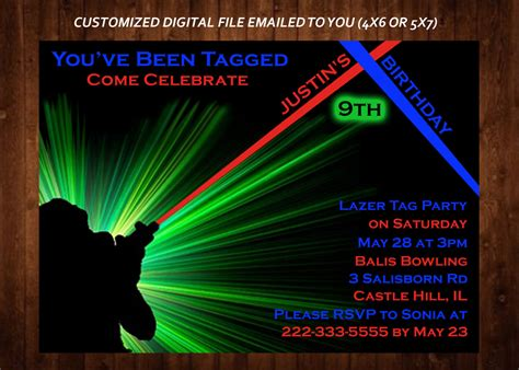 printable birthday invitations laser tag laser tag themed birthday party invitation laser tag custom