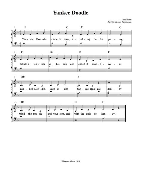 yankee doodle how to play on piano yankee doodle sheet and song from kiboomu learn