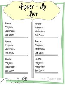 Honey Do List Template by Honey Do List Printable The Grant