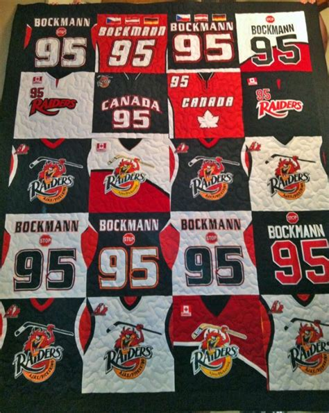 Quilts Made From Sports Jerseys by Custom Made Hockey Jersey Quilt Visit Quiltedmemories Ca