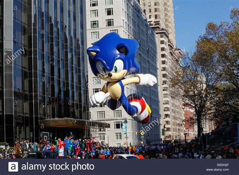 sonic new york sonic the hedgehog balloon central park west during macy s stock photo