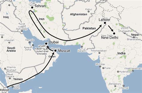 map of uae and iran uae iran map