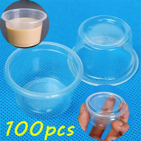 Cup 100pcs 100pcs 1oz 30ml cup with lid clear plastic pudding jelly sauce cup alex nld