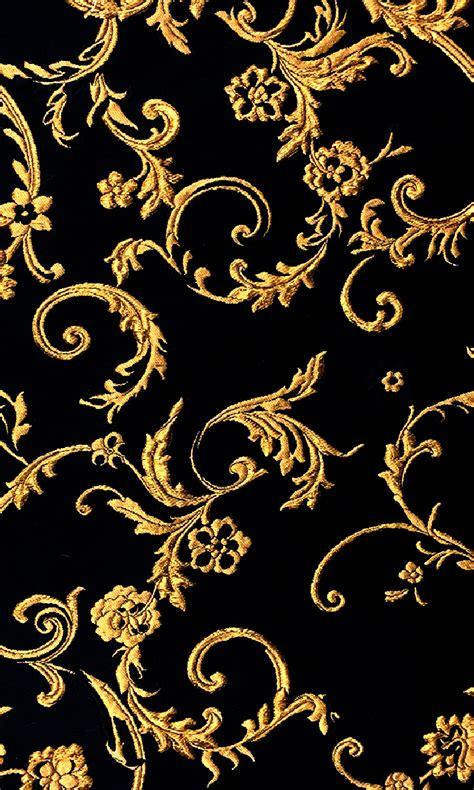 pattern black silk pack ornate gold filigree brocade on black silk blend new