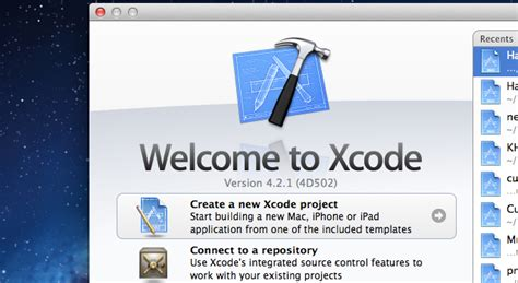 sle xcode iphone projects getting started building iphone apps in xcode 4 2