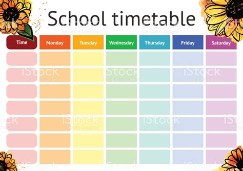 timetable template vector school timetable weekly