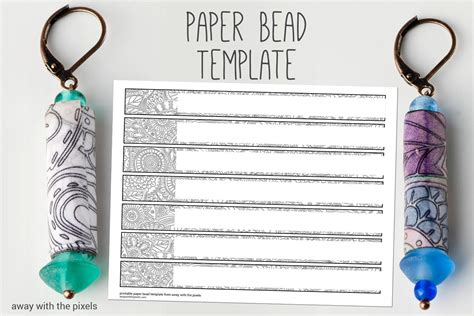 Black White Digital Paper Bead Template To Color Diy Paper Paper Bracelet Template