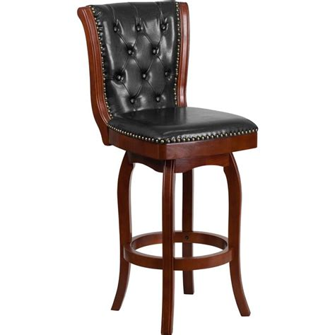 Maple Bar Stools With Leather Seats by 30 High Cherry Wood Barstool With Button Tufted Back And