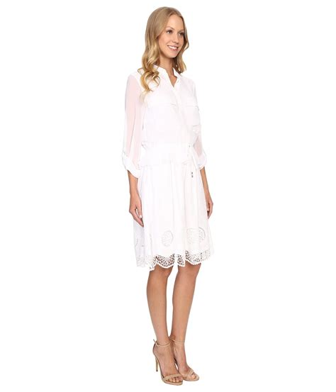 Embroidery Shirtdress papell embroidery voile shirtdress white zappos
