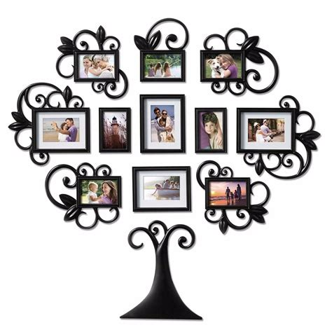 9 piece family tree wall photo frame set hanging frames picture home decor gift ebay 12 piece family tree photo picture frame collage set black