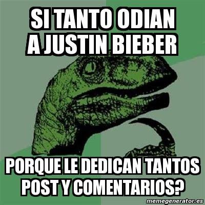 Meme Generator En Espaã Ol - meme filosoraptor si tanto odian a justin bieber porque