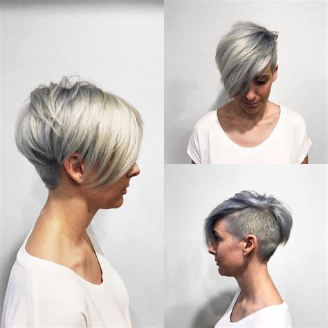 side swept fringe hairstyle style designs men s women s textured platinum undercut pixie with long side
